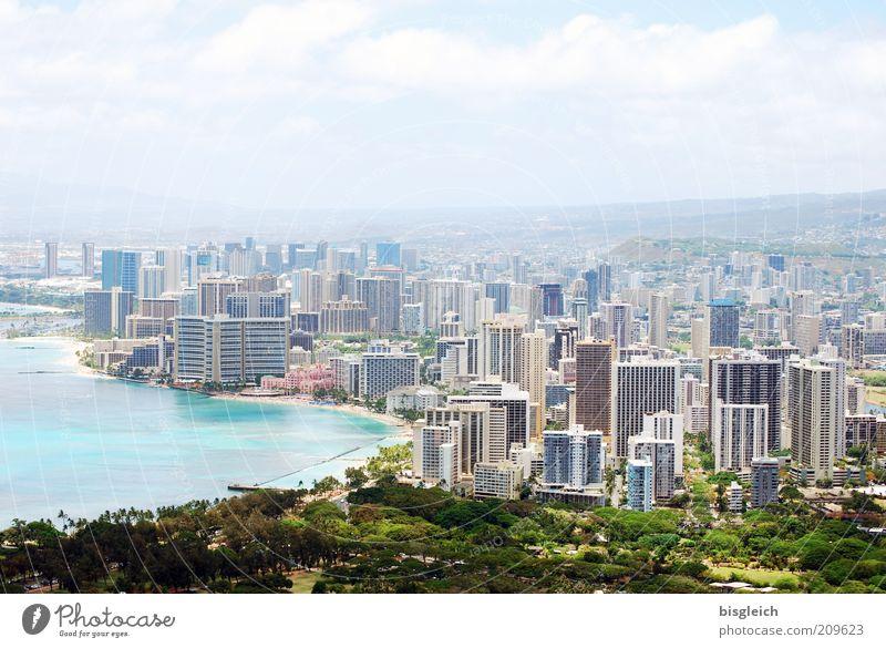Honolulu / Hawai'i Coast Port City High-rise Blue Green Colour photo Exterior shot Copy Space top Panorama (View) Bay Skyline Capital city Town Day