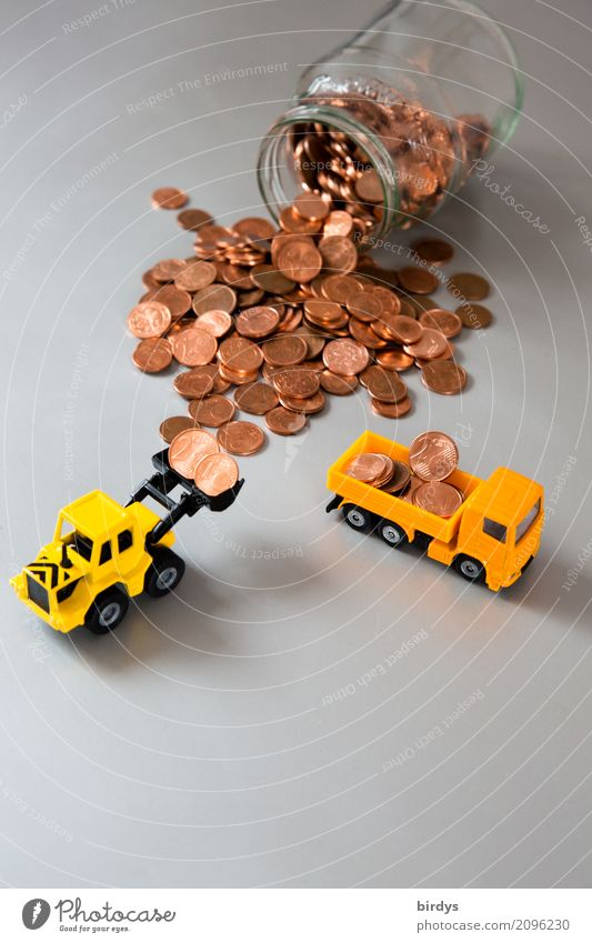 Abolish 1 and 2 cent coins Money Trade Construction site Financial Industry Financial institution Truck Wheel loader Toy car Coin Cent Work and employment