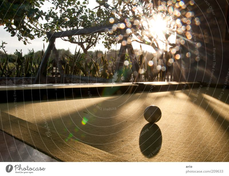 Dot and ball Pool (game) Sun Playing Bright Sphere Lens flare Colour photo Exterior shot Deserted Twilight Light (Natural Phenomenon) Billard bowle Playground