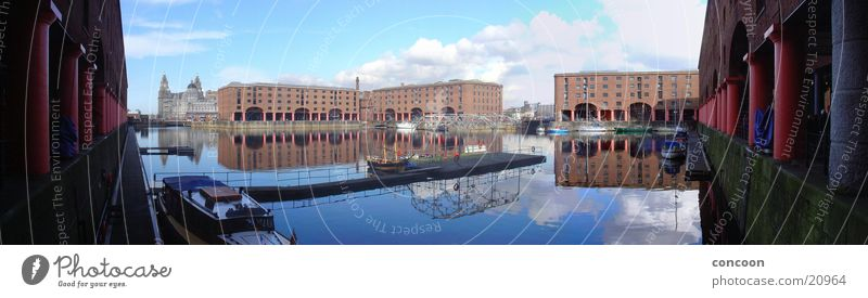 Sunny Liverpool (Panorama) Dock England Great Britain Water reflection Europe Beatles Harbour