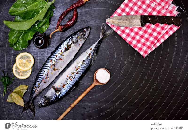 Two fresh whole mackerels Seafood Herbs and spices Nutrition Lunch Dinner Diet Spoon Ocean Table Restaurant Gastronomy Nature Animal Wood Fresh Naked Natural