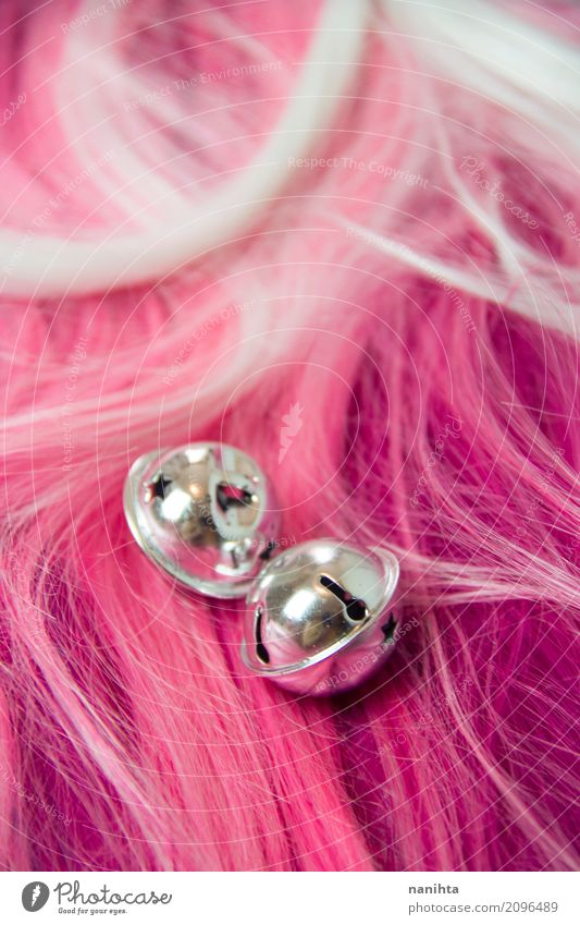 Tinker bells with a pink hair texture as background Hair and hairstyles Wig Bell Cool (slang) Fresh Cheap Good Beautiful Uniqueness Cute Original Positive Pink