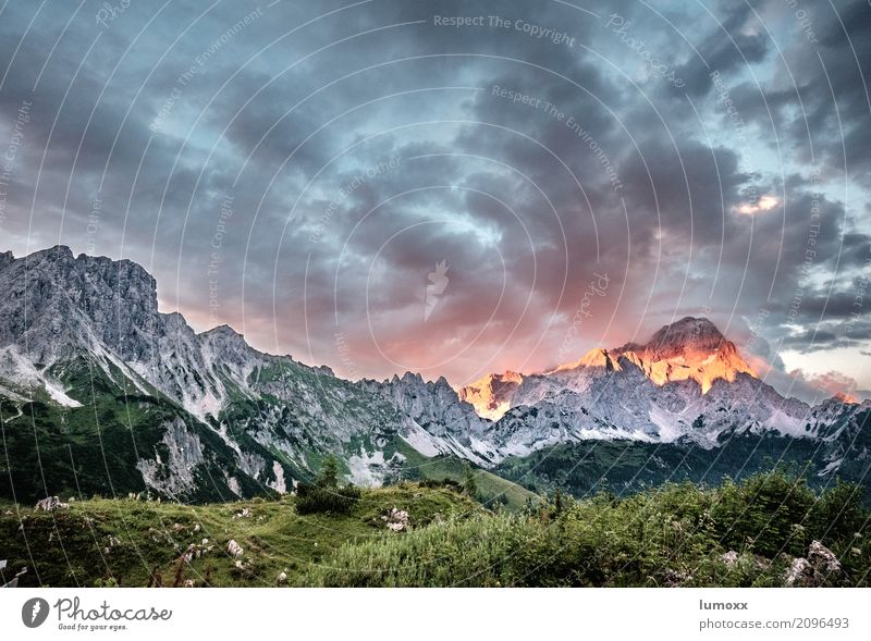 ALPENGLÜHEN Nature Landscape Plant Clouds Sunrise Sunset Summer Rock Alps Mountain Dachstein Dachstein mountains gate Peak Hiking Gray Green Red alpenglow