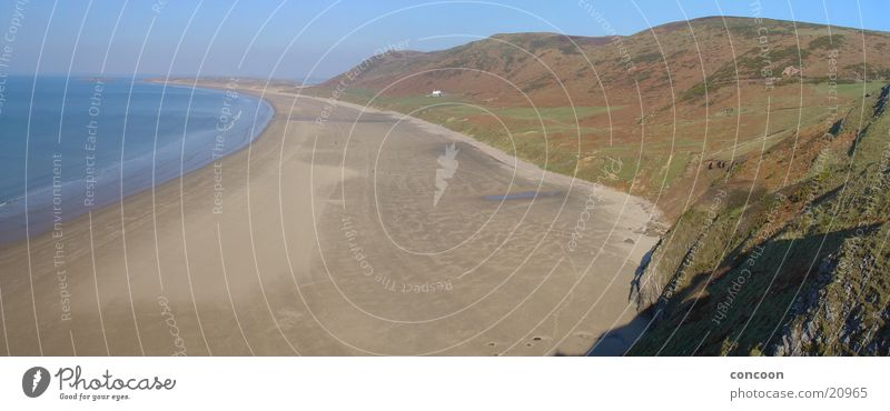 Spring in Wales (Panorama) Great Britain Beach Ocean Cliff Loneliness Rhossili Blue Bay Sun Rock vernally untouched Free