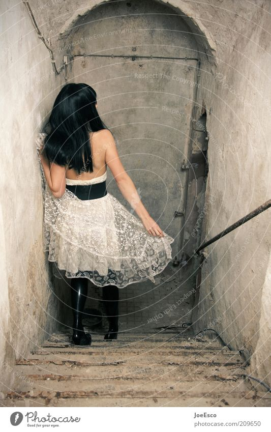 downwards... Elegant Style Cellar Night life Woman Adults Life Ruin Wall (barrier) Wall (building) Stairs Fashion Skirt Belt High heels Black-haired Long-haired