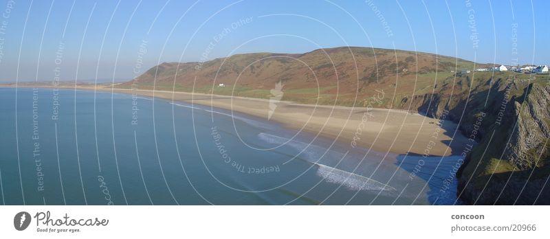 Rhossili Bay (Panorama) Gower Peninsula Wales Great Britain Beach Coast Ocean Europe Mountain untouched Nature