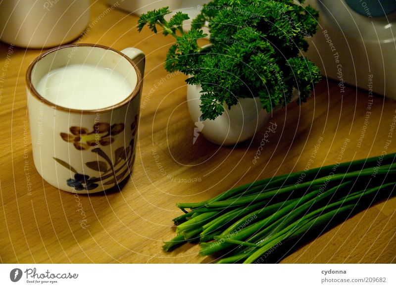 Fresh from the garden Herbs and spices Nutrition Organic produce Vegetarian diet Diet Milk Cup Healthy Calm Esthetic Idea Inspiration Still Life Parsley Chives