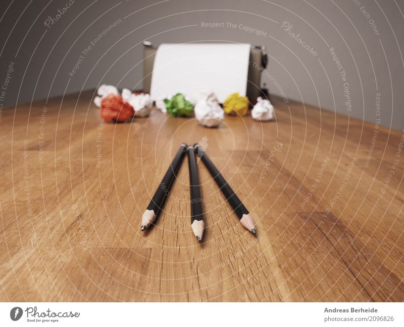 Business Office Power Success Creativity Idea Symbols and metaphors Wrinkles Inspiration Desk Workplace Pencil Innovative Joke Typewriter