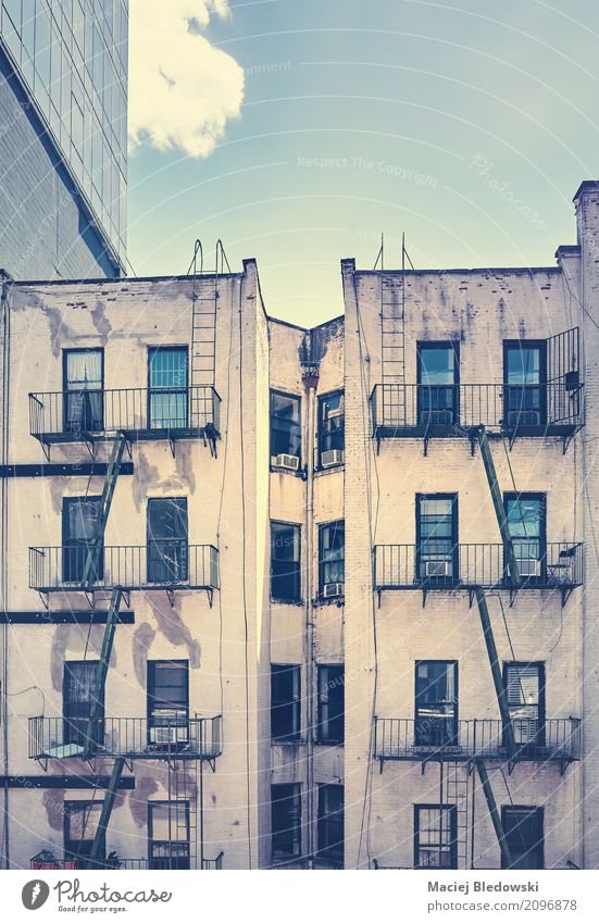 Unknown New York. Flat (apartment) House (Residential Structure) New York City Town Downtown Building Architecture Stairs Facade Old Retro Fire ladder Manhattan