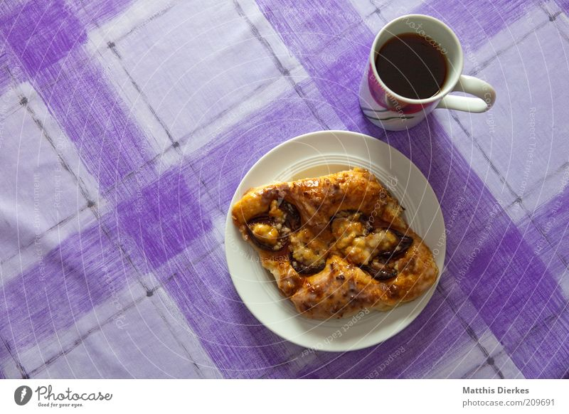 yeast particles Croissant Cake Dessert Candy Nutrition To have a coffee Hot drink Coffee Tea Plate Cup Fragrance To enjoy Esthetic Delicious Juicy Sweet Trashy