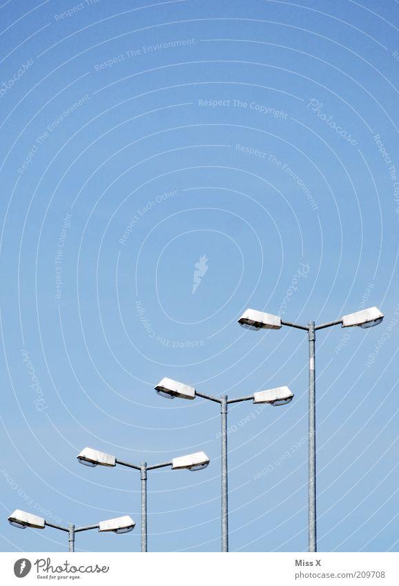 Sky Street Lamp Arrangement Gloomy Row Beautiful weather Street lighting Blue sky