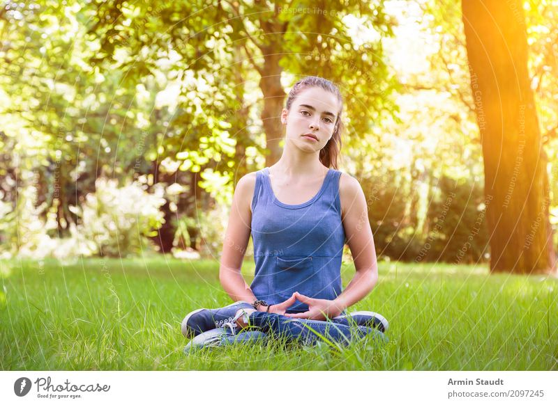 Human being Woman Nature Youth (Young adults) Summer Beautiful Relaxation Adults Lifestyle Healthy Emotions Meadow Feminine Think Park Sit
