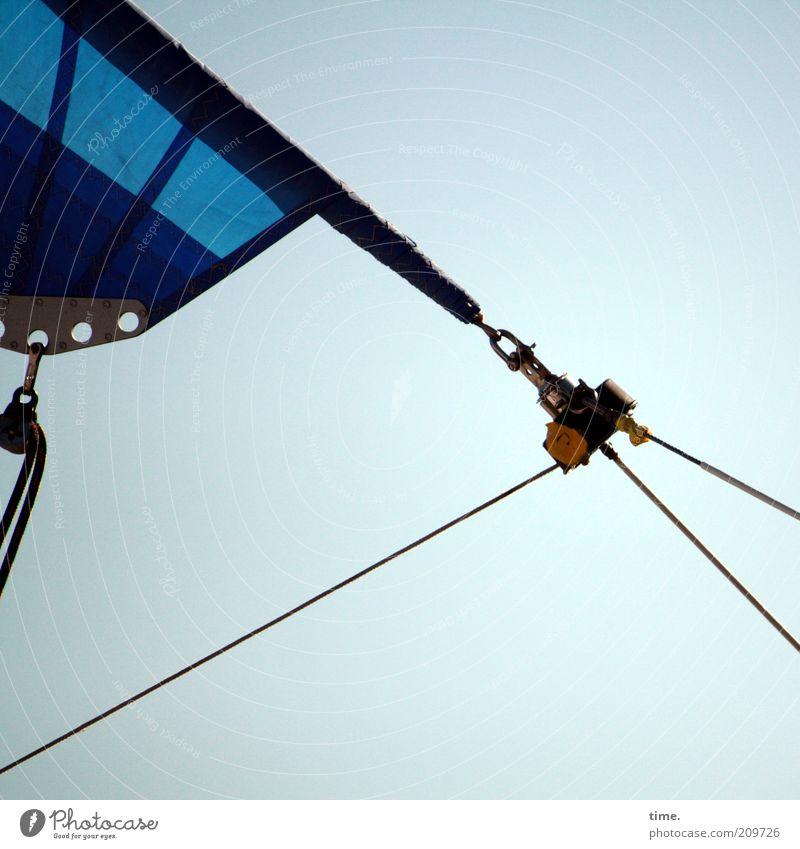 Triangle (II) Rope Sky Sailboat Blue Checkmark Eyelet Fastening Diagonal Splay distended Tense Objective Function furling sail furling jib Exterior shot