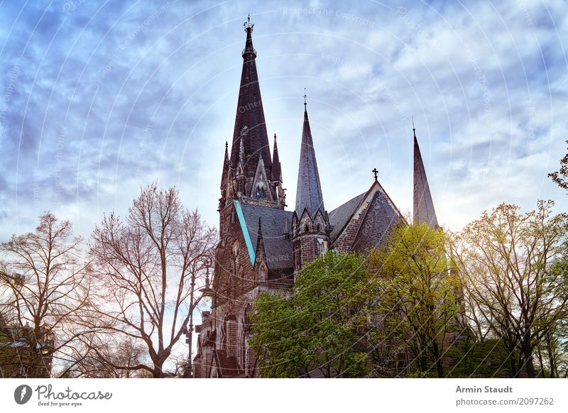 Sky Nature Town Tree Clouds Far-off places Religion and faith Lifestyle Spring Moody Church Eternity Might Hope Manmade structures Tourist Attraction