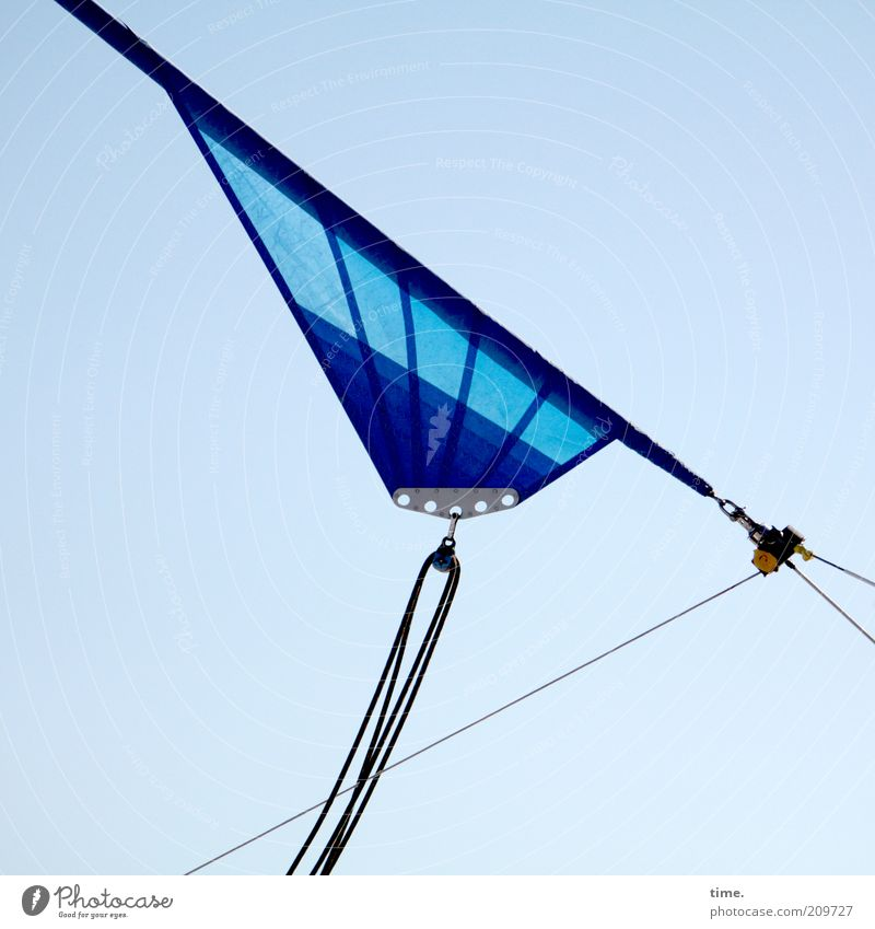 Sky Blue Rope Diagonal Geometry Sail Sailboat Symmetry Objective Checkmark Triangle Fastening Watercraft Function Tense Splay