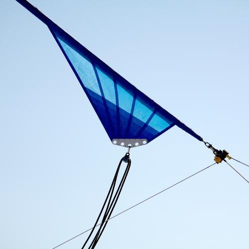 Triangle (III) Rope Sky Sailboat Blue Checkmark Eyelet Fastening Diagonal Splay distended Tense Objective Function furling sail furling jib Exterior shot