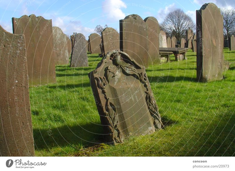Sun Calm Meadow Death Stone Religion and faith Obscure Decline Cemetery Scotland Great Britain Tombstone