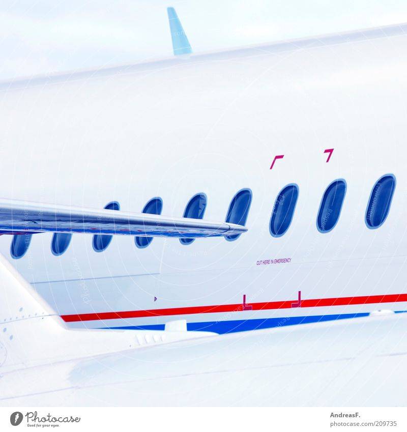 White Blue Red Vacation & Travel Far-off places Window Airplane Flying Transport Aviation Tourism Logistics Passenger traffic Means of transport Passenger plane Fender