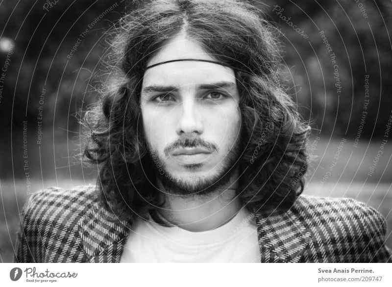 Human being Youth (Young adults) Face Eyes Emotions Style Hair and hairstyles Fashion Adults Masculine Lifestyle Cool (slang) Retro Illuminate Facial hair Curl