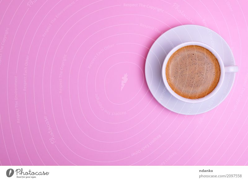 White cup and saucer Breakfast To have a coffee Beverage Coffee Espresso Cup Mug Table Restaurant Fresh Above Pink Black Café drink Conceptual design Fragrant