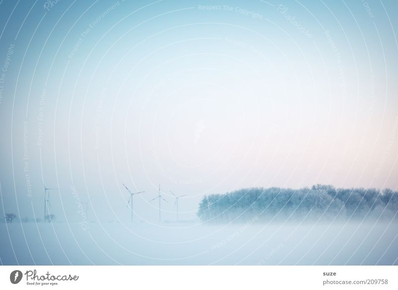 country in view Wind energy plant Industry Environment Nature Landscape Elements Air Sky Cloudless sky Horizon Winter Climate Bad weather Fog Ice Frost Snow