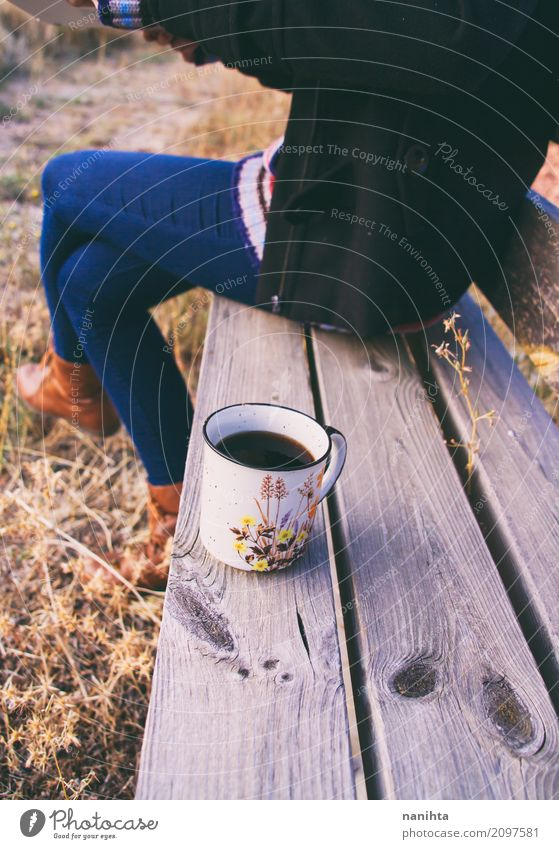 Autumn coffee over a wooden bench Human being Vacation & Travel Youth (Young adults) Young woman Calm Joy 18 - 30 years Adults Life Lifestyle Healthy Feminine