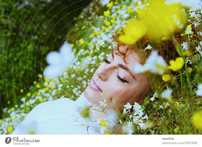 Young woman sleeping in a field of flowers Lifestyle Joy Face Freckles Wellness Well-being Senses Relaxation Meditation Fragrance Vacation & Travel Freedom