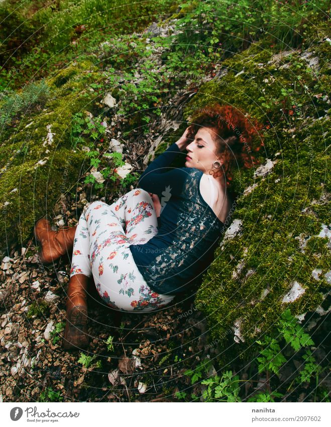 Young redhead hippie woman resting in nature Human being Nature Youth (Young adults) Plant Young woman Green Relaxation Leaf Calm Forest 18 - 30 years Adults