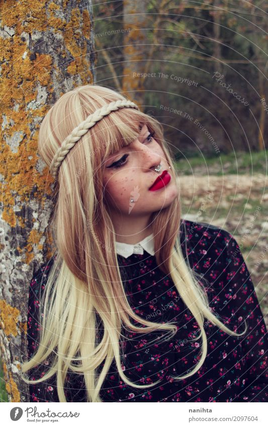 Young blonde woman leaning on a tree Elegant Style Exotic Freckles Human being Feminine Young woman Youth (Young adults) 1 18 - 30 years Adults Nature Tree