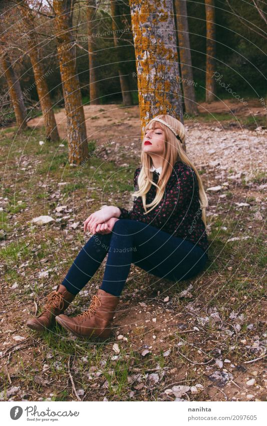 Young hippie woman sitting in a forest Lifestyle Wellness Harmonious Relaxation Calm Vacation & Travel Tourism Adventure Human being Feminine Young woman