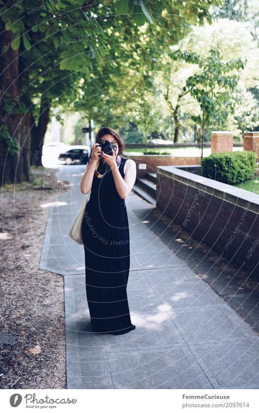 Human being Woman Vacation & Travel Youth (Young adults) Young woman 18 - 30 years Black Adults Feminine USA Eyeglasses Sidewalk Dress Long Photographer