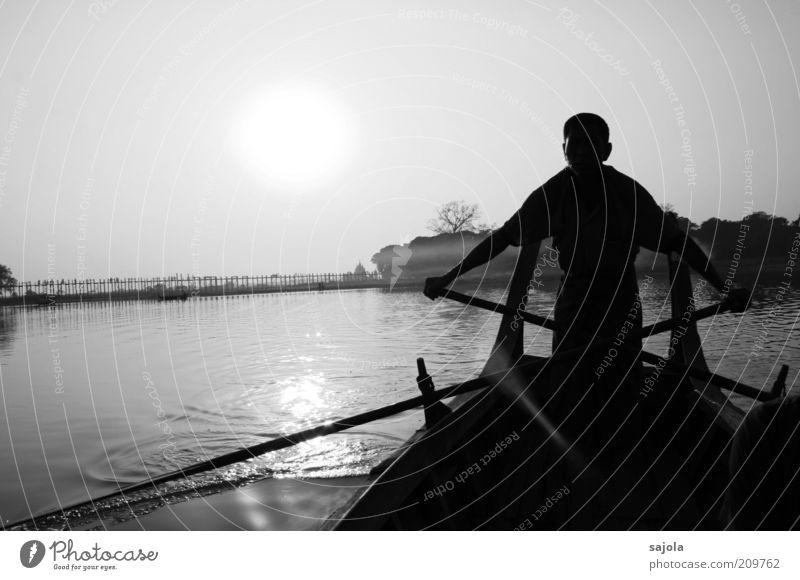 Human being Man Water Sun Vacation & Travel Calm Lake Adults Masculine Trip Bridge Esthetic Tourism Change Travel photography Asia