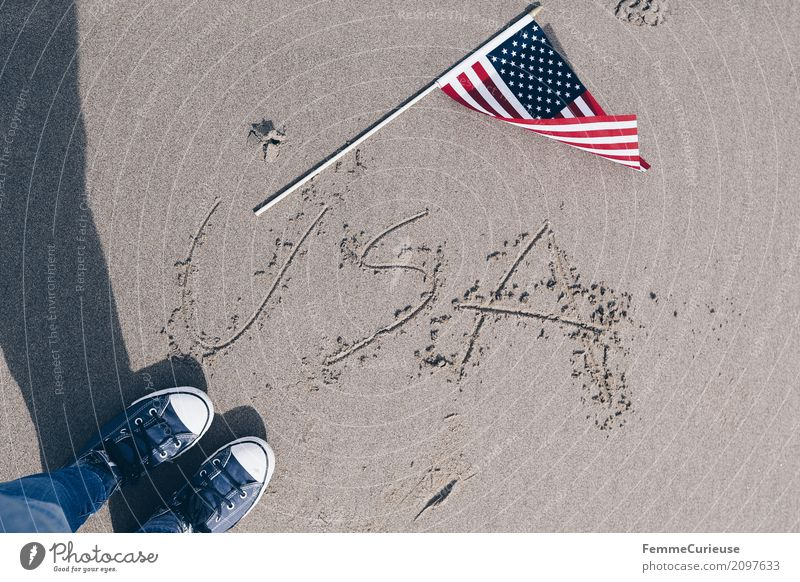 Roadtrip West Coast USA (129) Human being Adventure Feet Footwear Sneakers Flag Pacific beach Sand Beach Sandy beach Characters Sun Vacation & Travel