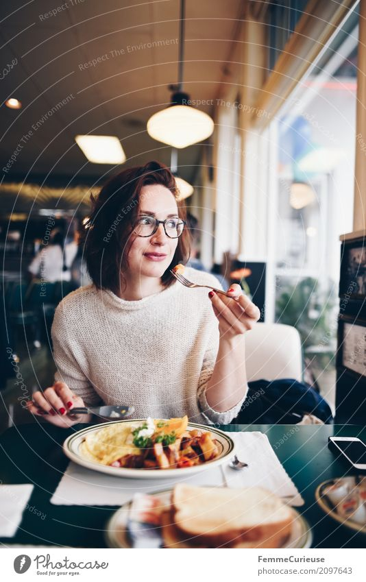 Human being Woman Youth (Young adults) Young woman Healthy Eating 18 - 30 years Dish Food photograph Adults Feminine To enjoy Table USA Eyeglasses