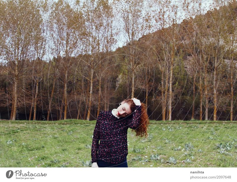 Young redhead woman in a forest Human being Feminine Young woman Youth (Young adults) 1 18 - 30 years Adults Environment Nature Landscape Spring Autumn Tree