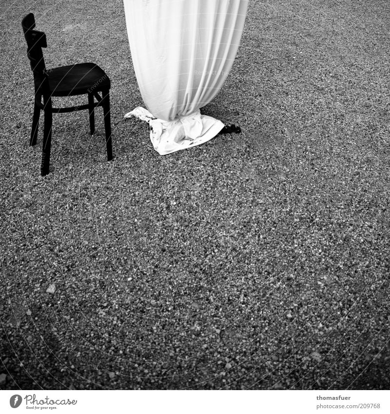 After... Lifestyle Luxury Elegant Garden Chair Table Event Beach bar Feasts & Celebrations Funeral service Black White Loneliness Moody Black & white photo