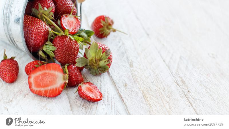Strawberries in a bucket on a white wooden table Fruit Dessert Diet Summer Table Group Wood Fresh Bright Delicious Natural Juicy Red White Colour Berries