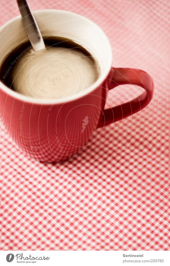 Coffee in Motion Food To have a coffee Beverage Drinking Hot drink Cup Spoon Retro Red Foam Stir Checkered Coffee cup Coffee break Coffee mug Colour photo