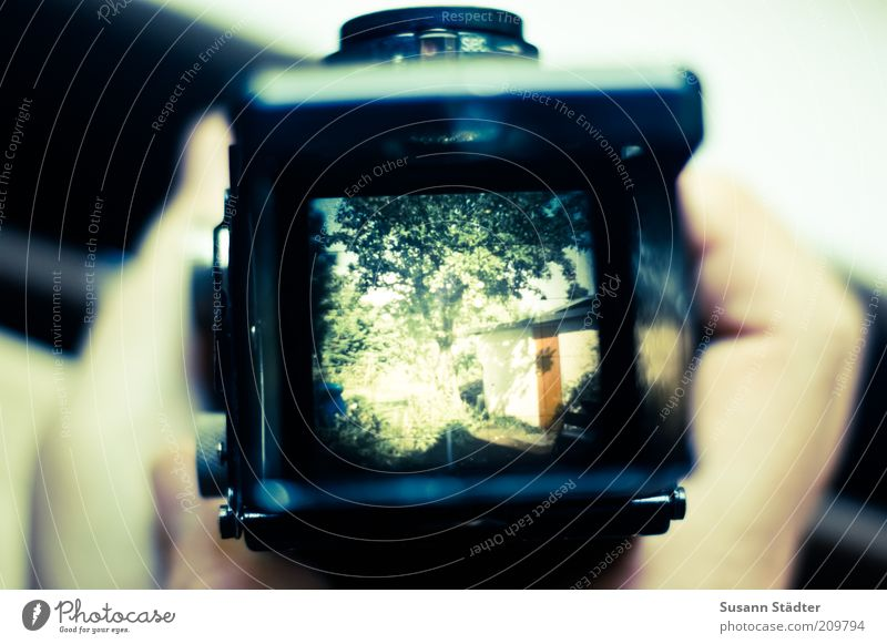 Hand Old House (Residential Structure) Garden Camera Analog To hold on Hut Take a photo Lomography Viewfinder Medium format Objective Legacy Human being Contrast