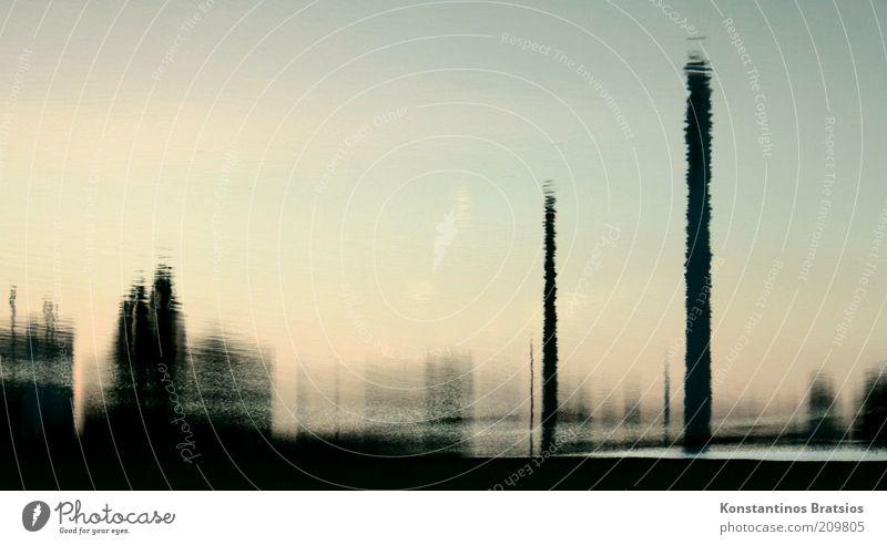 Water Building Fluid Chimney Surrealism Industrial plant Mirror image Reflection Blur Landscape format Water reflection