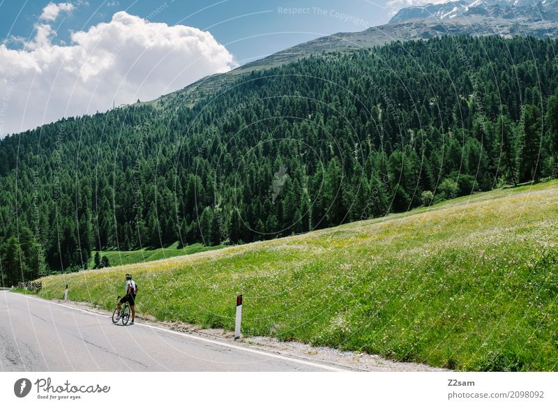 waiting for the team van Leisure and hobbies Vacation & Travel Cycling Man Adults 45 - 60 years Nature Landscape Summer Beautiful weather Alps Mountain Glacier
