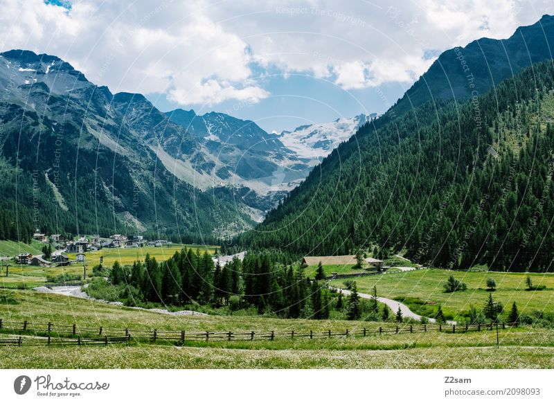 debts Environment Nature Landscape Summer Beautiful weather Meadow Forest Alps Mountain Glacier Village Natural Blue Green Relaxation Colour Leisure and hobbies