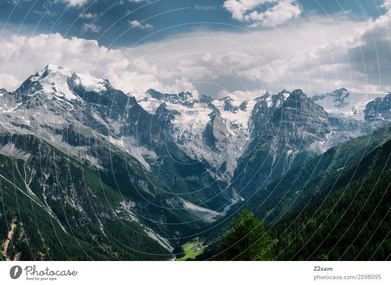 Ortles Environment Nature Landscape Sky Clouds Summer Beautiful weather Alps Mountain Peak Glacier Threat Dark Far-off places Gigantic Large Tall Natural Blue