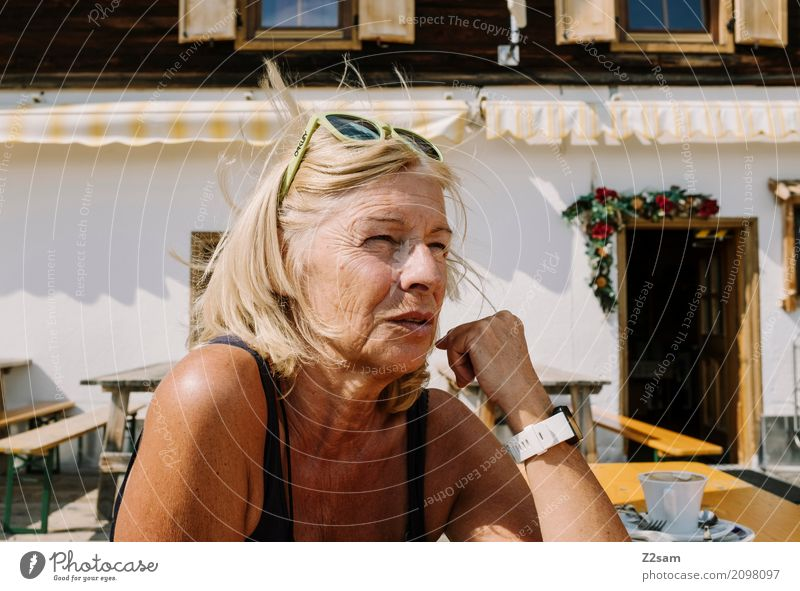windswept Lifestyle Elegant Style Leisure and hobbies Woman Adults 45 - 60 years Summer Beautiful weather Hut Observe Relaxation Dream Blonde Fresh Healthy