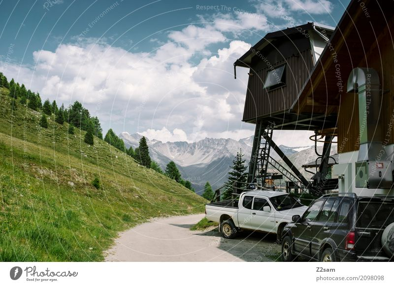 like in the Rockies Nature Landscape Sky Clouds Summer Beautiful weather Meadow Forest Alps Mountain Peak Glacier Street Overpass Car Tall Natural Blue Green