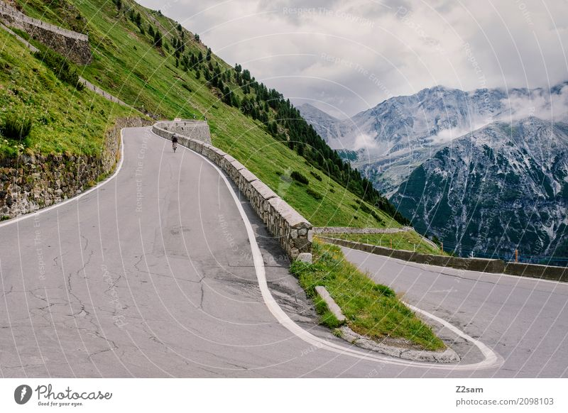 Turn 30 of 48 Leisure and hobbies Vacation & Travel Cycling tour Environment Nature Landscape Sky Clouds Summer Alps Mountain Glacier Street Lanes & trails