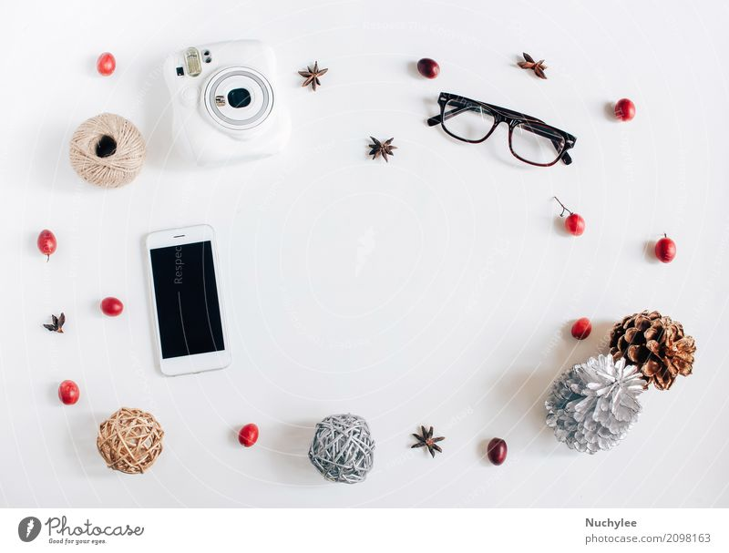 Creative flat lay of thanksgiving or autumn concept White Warmth Lifestyle Autumn Style Fashion Feasts & Celebrations Design Copy Space Bright