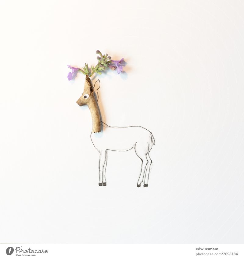 flower deer Leisure and hobbies Handicraft Painting (action, artwork) Plant Summer Blossom Animal Wild animal Paper Decoration Wood Looking Stand Wait Happiness