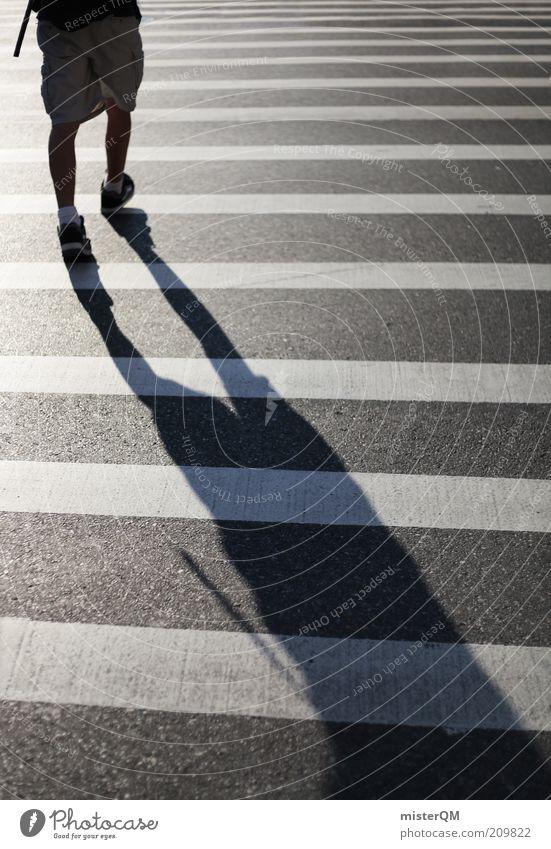 Step away. Human being Masculine 1 Esthetic Traverse Pedestrian Pedestrian crossing Zebra crossing Asphalt Striped Movement Legs Forwards