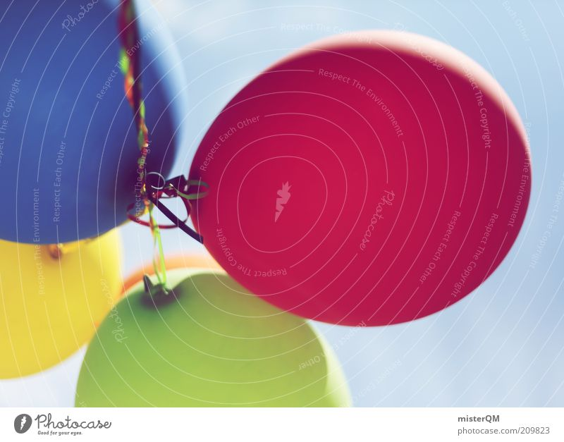 Up. Esthetic Creativity Fashioned Multicoloured Opening Hover Flying Red Blue Yellow Green 4 Decoration Balloon Idea Colour photo Exterior shot Close-up Detail